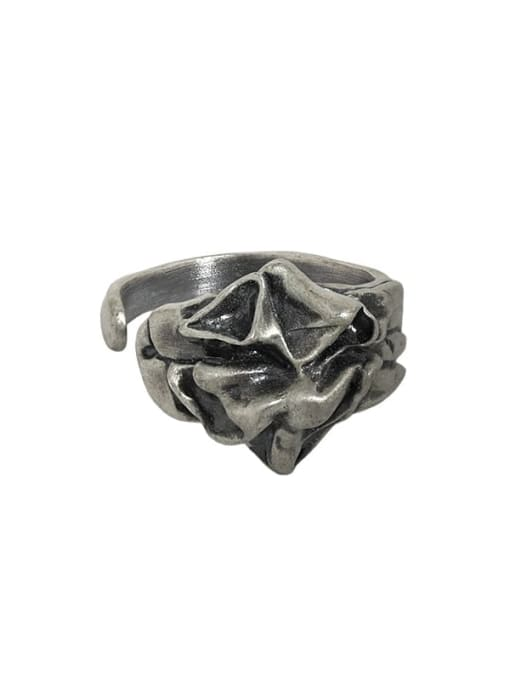 Retro silver [15 adjustable] 925 Sterling Silver Irregular Vintage Band Ring